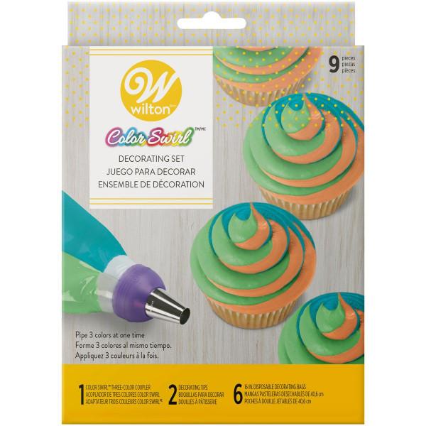 Wilton ColorSwirl Tri-Color Coupler Decorating Set/9