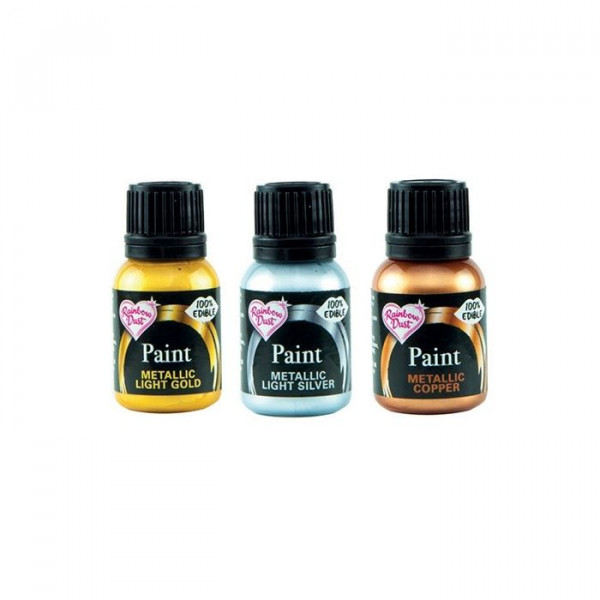 Rainbow Dust Metallic-Paint 3er Pack (3x25g; light gold,light silver, copper)