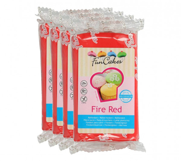 FunCakes Fondant Fire Red 4 x 250g