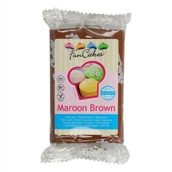 FunCakes Fondant Maroon Brown 250g