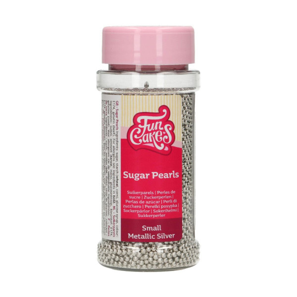 FunCakes Sugarpearls 2 mm Metallic Silver 80g