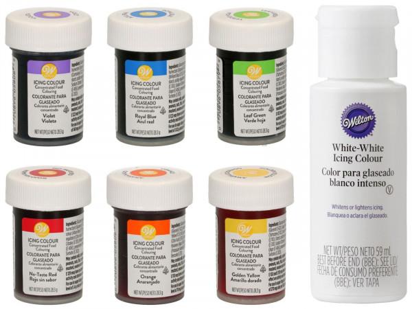 Wilton Glasurfarben Regenbogenmix 6 x 28 g + White 59ml