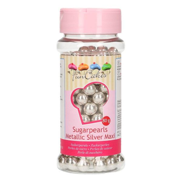 FunCakes Sugarpearls 8 mm Metallic Silver 80g