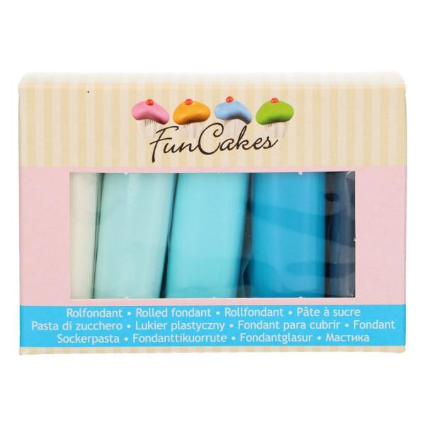 FunCakes Fondant Multipack Blue Colour Palette 5 x 100g