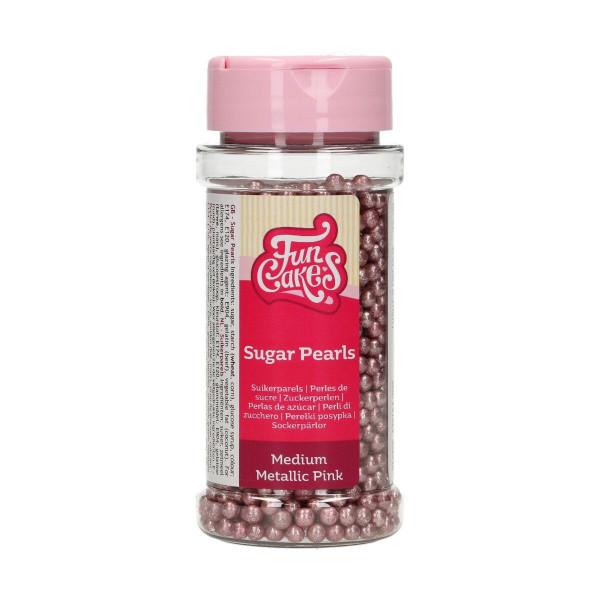 FunCakes Sugarpearls Metallic Pink 80g