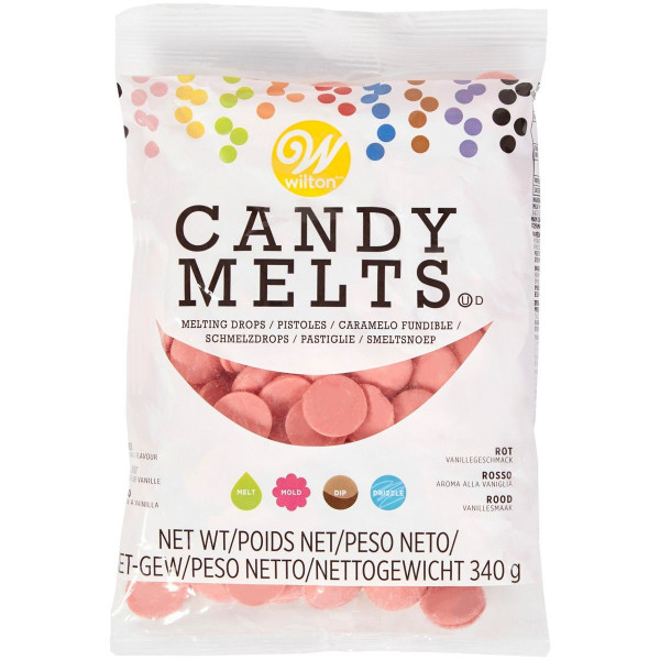 13548-wilton-candy-melts-light-red-340g-rot-hellrot-melting-drops-dipping-chocolate-cake-cover-drip-icing-vanilla-vanillegeschmack